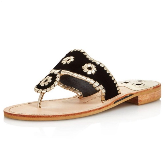 dc6f32fe278f Jack Rogers Shoes - Jack Rogers Navajo Leather Sandal in Black & Gold